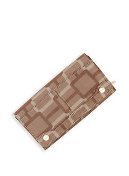 Geometric Print Flap Wallet - 1126067446609