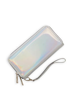 Faux Patent Leather Double Zip Wallet - 1126067447069