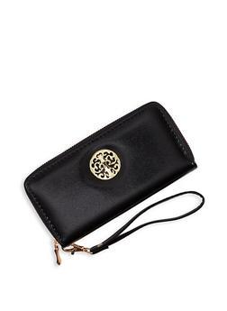 Metallic Detail Zip Around Wallet - 1126067447908