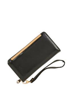 Metallic Bar Zip Around Wallet - 1126067448006