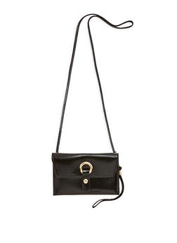 Faux Leather Metallic Ring Snap Closure Clutch - 1126067448010