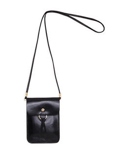 Faux Leather O Ring Crossbody Pouch - 1126067448013
