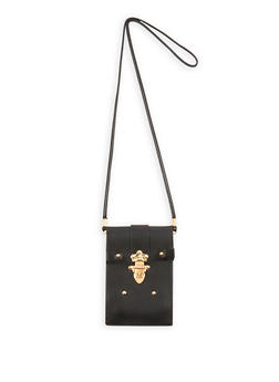 Faux Leather Lock Crossbody Bag - 1126067448015