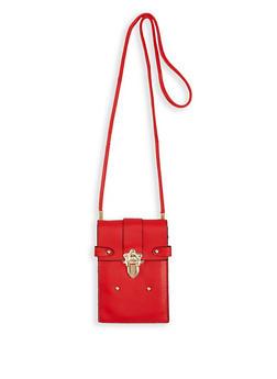 Faux Leather Lock Crossbody Bag - 1126067448015