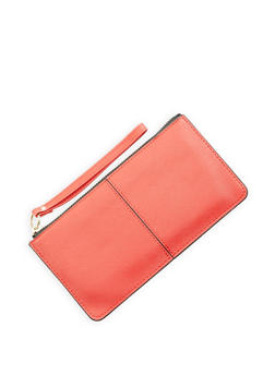 Faux Leather Zip Wristlet - 1126067448022