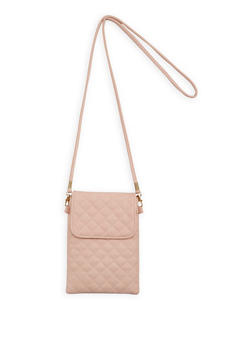 Quilted Faux Leather Crossbody Cell Phone Pouch - 1126067448029