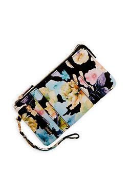Floral Zip Wristlet - 1126067448035