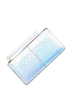 Iridescent Faux Leather Zip Wristlet - 1126067448054