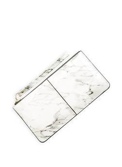 Marble Faux Patent Leather Zip Wristlet - 1126067448055