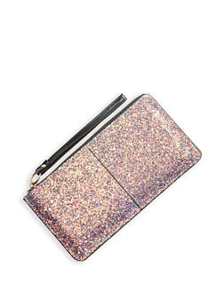 Glitter Faux Leather Zip Wallet - 1126067448057
