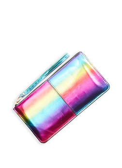 Rainbow Faux Leather Zip Wristlet - 1126067448058