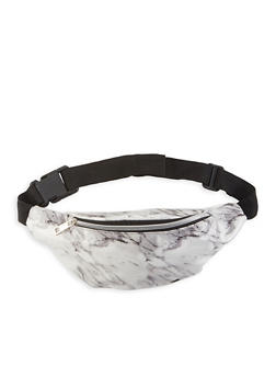 Marble Print Faux Patent Leather Fanny Pack - 1126067448073