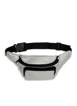 Faux Woven Leather Fanny Pack - 1126067448132