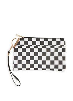 Black and White Checkered Wristlet - 1126067448300