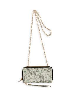 Dollar Bill Print Crossbody Wallet - 1126067448770