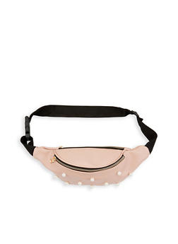 Faux Pearl Studded Double Zip Fanny Pack - 1126067448816