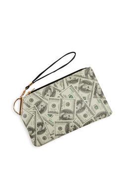 Dollar Bill Print Clutch - 1126067448909