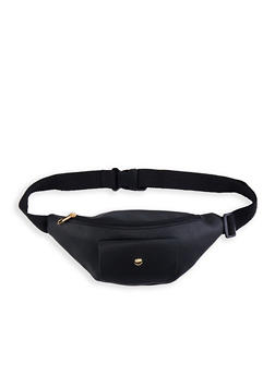 Textured Faux Leather Front Pocket Fanny Pack - 1126067449054