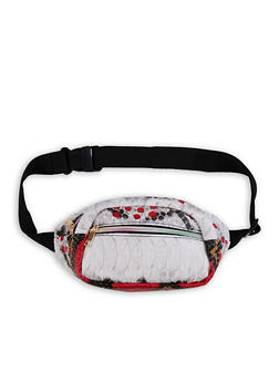 Printed Textured Faux Leather Fanny Pack - 1126067449058