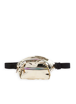 Double Zip Faux Patent Leather Fanny Pack - 1126067449061