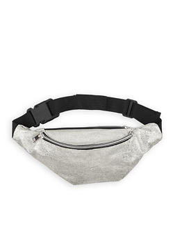 Textured Faux Leather Zip Fanny Pack - 1126067449063
