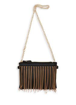 Metallic Fringe Faux Leather Crossbody Bag - 1126067449070