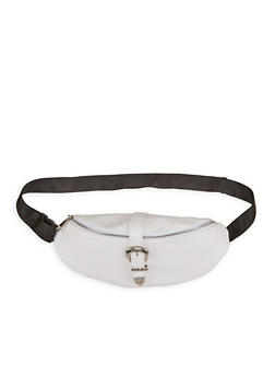 Buckle Snap Faux Leather Fanny Pack - 1126067449086