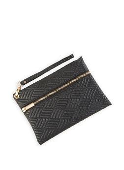 Textured Faux Leather Wristlet - 1126067449117