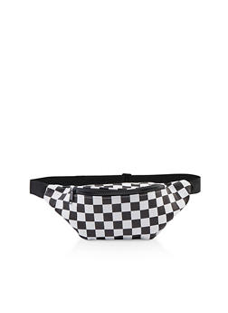 Checkered Faux Leather Fanny Pack - 1126067449144