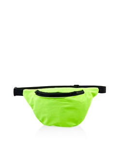 Solid Color Single Zip Fanny Pack - LIME - 1126067449188