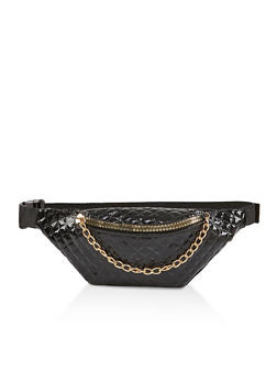 Quilted Faux Patent Leather Fanny Pack - 1126067449198