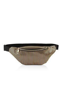 Embossed Stripe Single Zip Fanny Pack - 1126067449212