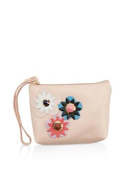 Studded Flower Faux Leather Wristlet - 1126067449308