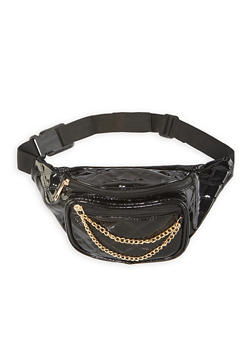 Quilted Faux Patent Leather Fanny Pack - 1126067449888