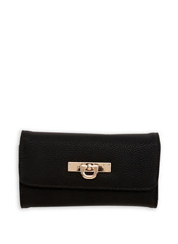 Faux Pebbled Leather Wallet - 1126071211004