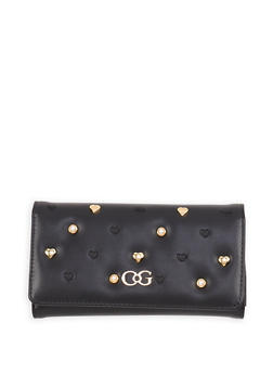 Faux Pearl Studded Wallet - 1126071211015