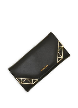 Metallic Accented Tri Fold Wallet - 1126071211017
