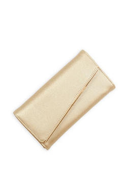 Slanted Metallic Bar Faux Leather Wallet - 1126071211018