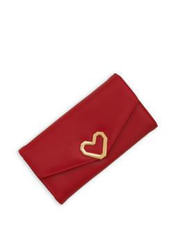 Faux Leather Metallic Heart Wallet - 1126071211019