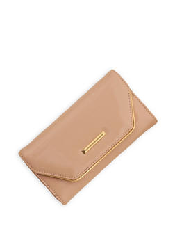 Faux Patent Leather Flap Wallet - 1126071211020