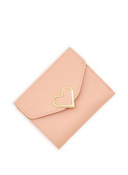 Heart Detail Mini Trifold Faux Leather Wallet - 1126073896053