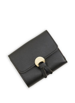 Tassel Detail Mini Trifold Faux Leather Wallet - 1126073896055