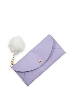 Faux Leather Wallet with Pom Pom Keychain - 1126073896081