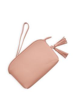Faux Leather Tassel Wristlet - 1126073896089