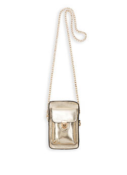 Mini Faux Leather Chain Crossbody Bag - 1126073896823