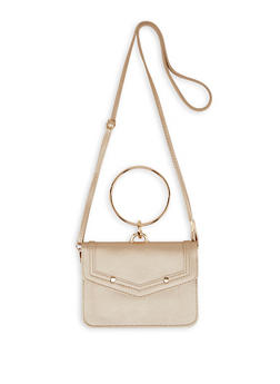 O Ring Handle Faux Leather Crossbody Bag - Gold - 1126073897029