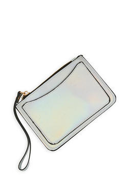 Faux Leather Zip Wristlet - 1126074390275