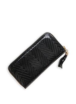 Faux Patent Leather Chevron Wallet - 1126074391235
