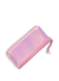 Faux Patent Leather Chevron Wallet - 1126074391235
