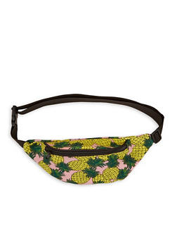 Pineapple Print Canvas Fanny Pack - 1126074391824